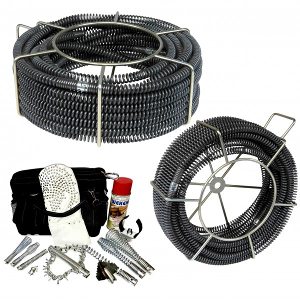Drain cables & tools set 16mm and 22mm for drain cleaning