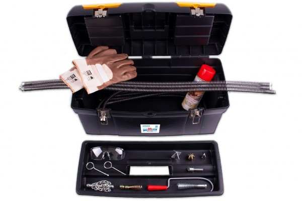 """Drain cleaning set """"SOS"""" from rak with drilling machine connection"""